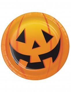 Halloween-Pappteller mit Kürbissen 8 Stück 18 cm