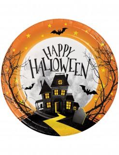 Kleine Halloween-Pappteller Spukhaus 8 Stück 18 cm