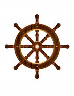 Wanddeko Steuerrad mit Kompass braun 50cm