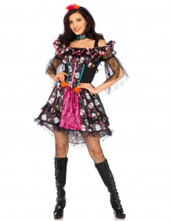 Dia de los Muertos Halloween-Kostüm Puppe für Damen bunt
