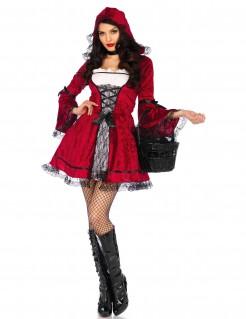Kostüm Gothic-Rotkäppchen für Damen rot-schwarz-weiss