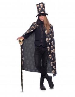 Umhang und Hut mit Totenköpfen Accessoire-Set für Halloween 2-teilig schwarz-beige