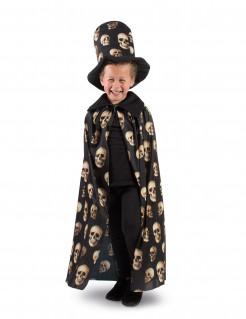 Cape und Zylinder mit Totenschädeln Halloween-Set für Kinder beige-schwarz