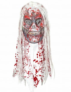 Halloween-Maske Zombie mit Haaren für Erwachsene