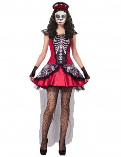 Dia de los Muertos Skelett-Kostüm für Frauen rot