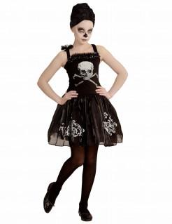 Untote Skelett-Tänzerin Halloween Kostüm für Kinder schwarz-silber