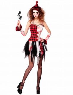Halloween Damenkostüm Harlekin mit Hut rot-weiß-schwarz