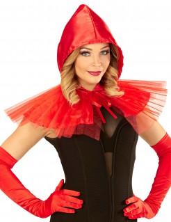 Mini-Umhang mit Kapuze für Damen rot