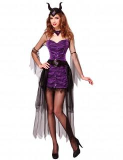 Böse Märchenkönigin Märchenhexen-Kostüm lila-schwarz