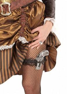 Strumpfband mit Pistole für Damen schwarz