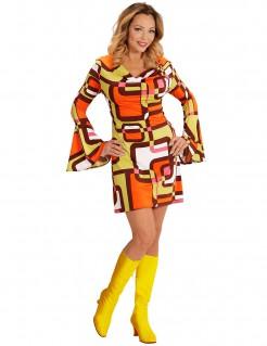 Groovy 70er Jahre Damenkostüm mit geometrischen Mustern