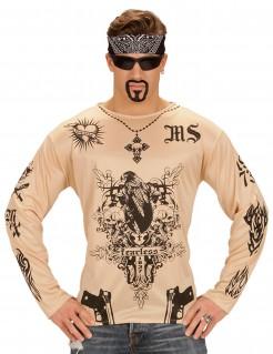 Tattooshirt Fearless Rocker-Shirt Longsleeve beige-schwarz