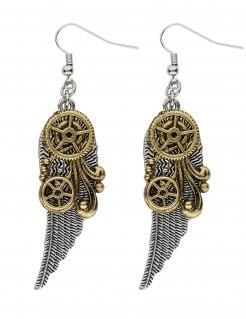 Steampunk-Ohrringe mit Zahnrädern und Federn für Erwachsene
