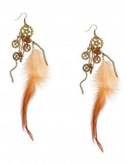 Steampunk-Ohrringe mit Federn für Erwachsene