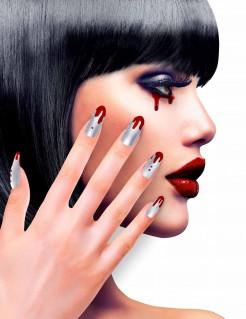 Blutbedeckte Halloween-Fingernägel silber-rot