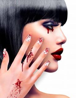 Blutige Fingernägel Horror-Fingernägel für Halloween weiss-rot