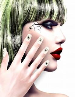 Halloween-Fingernägel mit Spinnen-Motiv weiss-schwarz