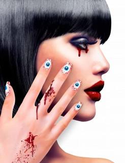 Horror-Fingernägel mit Augen-Motiv weiss-rot-blau