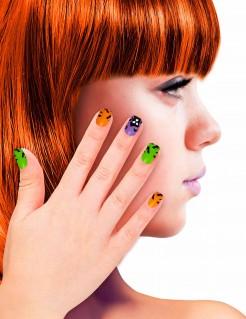Halloween-Fingernägel mit Geisterhaus-Motiv bunt