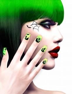 Halloween-Fingernägel mit Friedhof-Motiv grün-gelb-schwarz