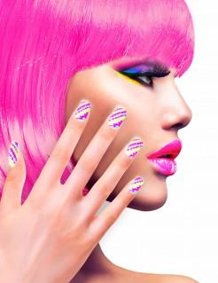 Gestreifte Fingernägel Künstliche Fingernägel pink-bunt