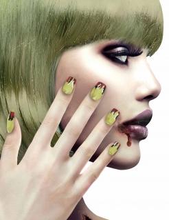 Hexen-Fingernägel Künstliche Nägel grün-rot
