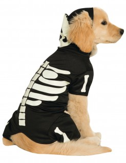 Hundekostüm für Halloween nachtleuchtendes Skelett
