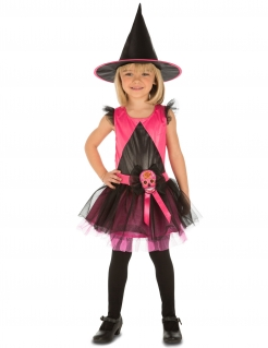 Hexen-Kostüm für Mädchen Día de los Muertos schwarz-rosa