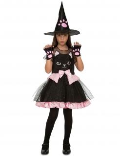 Katzen-Hexe Kostüm für Kinder Halloween schwarz-rosa