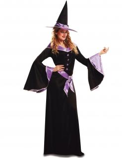 Halloween Damenkostüm Hexe schwarz-lila