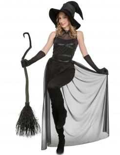Attraktives Hexen-Kostüm für Halloween und Fasching Damenkostüm schwarz