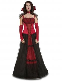 Verführerische Vampir-Gräfin Halloween-Kostüm für Damen rot-schwarz