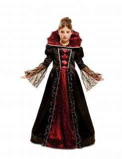 Barock-Vampirkostüm für Mädchen Halloween-Kostüm schwarz-rot