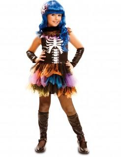 Kostüm Regenbogen-Skelett für Mädchen