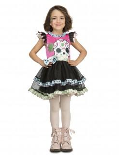 Tag der Toten-Mädchenkostüm Halloween-Kostüm schwarz-rosa-weiss