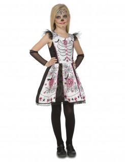 Día de los Muertos-Kostüm für Mädchen Halloween-Kostüm schwarz-weiss-rosa