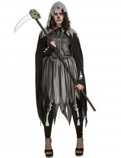 Totengeist-Kostüm Sensenfrau-Kostüm grau-schwarz