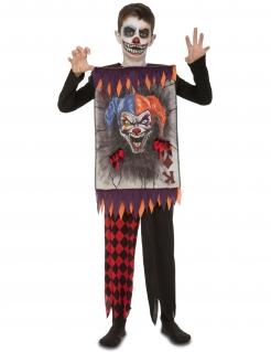 Joker-Spielkartenkostüm für Jungen Halloween-Kostüm schwarz-rot-grau