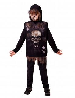 Skelett-Kostüm für Kinder Spielkarte Halloweenkostüm schwarz-braun