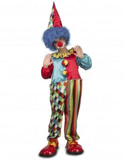 Pummeliger Clown-Kostüm für Kinder Karneval bunt