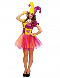 Kostüm Harlekin für Damen gelb-lila