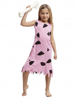 Kostüm Steinzeitmensch für Mädchen rosa
