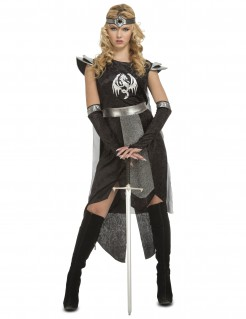 Drachenkriegerin Ritter-Kostüm schwarz-silber