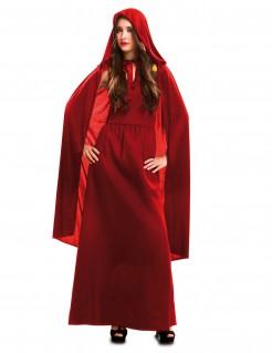 Hallowen Hexen Kostüm für Damen mit Cape Rote Zauberin rot