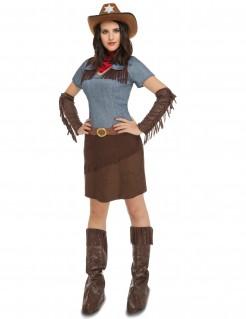 Cowgirl Westernkostüm blau-braun