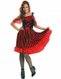 Andalusisches Tänzerinnen-Kostüm rot-schwarz