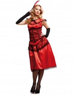 Kabarett-Kostüm für Damen rot-schwarz