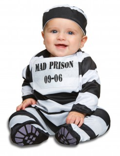 Verbrecher-Babykostüm Sträflingskostüm schwarz-weiss