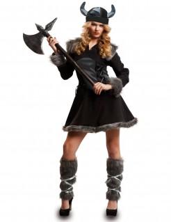 Kostüm Wikingerin für Damen schwarz