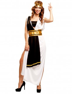 Kostüm römische Senatorin für Damen schwarz-weiss-gold